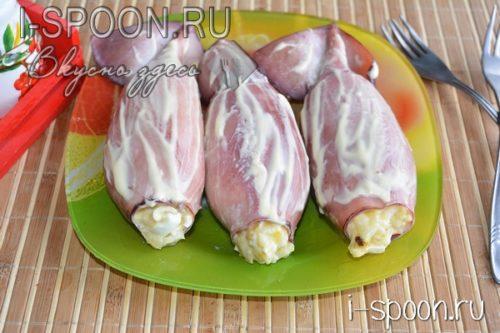 Фаршированные кальмары с крабовыми палочками рецепт