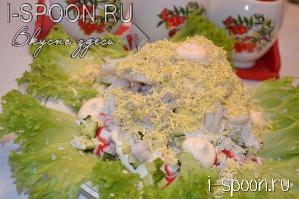 крабовый салат с кальмарами