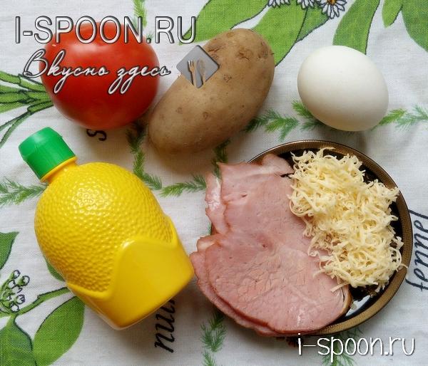 салат с ветчиной и картошкой